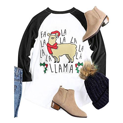 VEMOW Heißer Elegante Damen Frauen Große Größe Frohe Weihnachten Alphabet Druck Langarm Casual Täglich Freizeit Spleißen Top T-Shirt(X4-Schwarz, EU-38/CN-S)