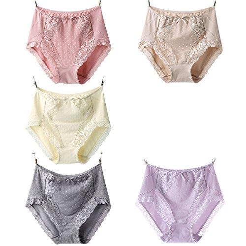 Frauen Hohe Taillenhosen Unterwäsche Baumwollgewebe Sexy Spitzenunterwäsche 2 Taschen a3