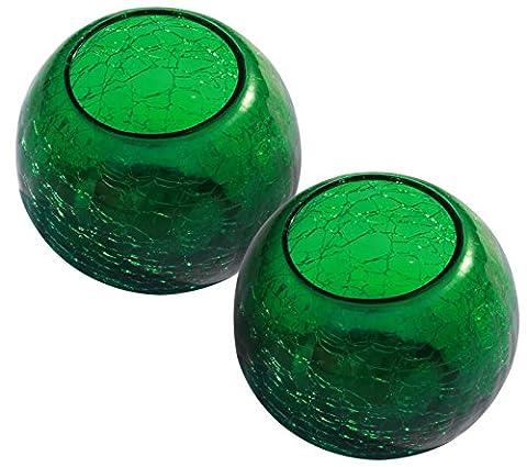 Weihnachts Dekoration - Set aus 2 Grün Glas Teelichthalter - Stimmungslicht 8.6 cm Grün Rund Crackle Teelichthalter Bunt Teelichtgläser
