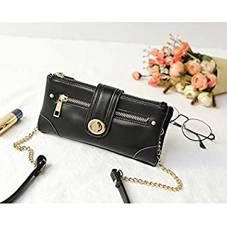 Ladies Leather Handtasche, Fashion Wallet Envelope Coin Geldbörse ID-Karte Holder,Black