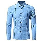 VEMOW Herbst Frühling Neue Mode Persönlichkeit Männer Casual Täglichen Party Strand Geschäft Formelle Gelegenheit Schlank Langarm-Shirt Top Bluse(Himmelblau, EU-52/CN-3XL)