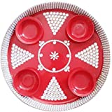 Generic Red Color 12 Inch Decorative Thali With 4 Katori And White Stone Decoration