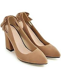 CXQ-Talons QIN&X Bloc de Femmes Chaussures à Tête Carrée, Rouge, 35