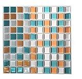 Adhesivo 3D de gel de Tile & Sticker con diseño de azulejo, efecto mosaico, alta calidad, imita pared de mosaico de piedra y metal plateado; 10 láminas