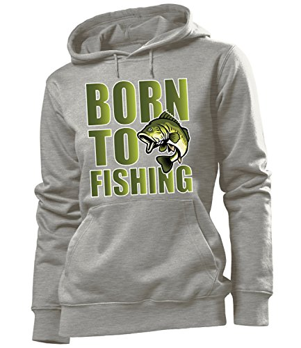 Angeln - Born to Fishing - Angler Fan - Cooler Comedy Damen Kapuzenpullover S-XL - Deluxe