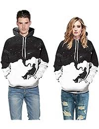 FRAUIT Herren Herbst Winter Wundersch/ön 3D Print Langarm Sweatshirt M/änner Sweatshirt Kapuzenpullover Pullover Sweater mit Rundhalskragen aus Hochwertiger Baumwollmischung M/änner