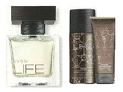 Avon Life for Him set - EDT, Deodorant Body Spray, Hair, Body Wash and paper gift bag. - Exclusively designed by Kenzo Takada for Avon