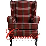 "Extra Wide (21"" Seat width) Luxury Orthopedic High Seat Chairs in 21"" or 19"" Seat Heights. Balmoral Red Tartan. (21"" Seat Height with Footstool)"