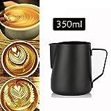 Qiyun Lattiere,Bricco da Latte Lattiera per Cappuccino in Acciaio Inox,caffè Latte Art,350ml Acciaio Inox 304 Teflon