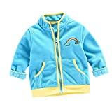 VENMO Mädchen Jungen Kinder Regenbogenjacke Herbst Winter Warmer Mantel Softshelljacke Oberteile Anzüge Kleidung Neue nette mit Kapuze Jacke starke warme Kleidung Kapuzenpullover (12M-24M, Blue)
