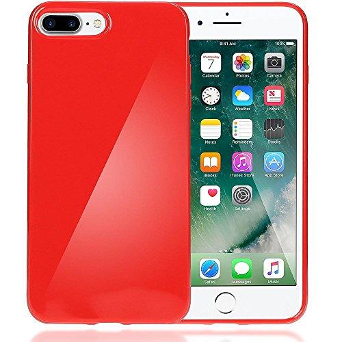 iPhone 8 Plus / 7 Plus Hülle Handyhülle von NICA, Ultra-Slim TPU Silikon Jelly Case, Dünner Gummi Schutz Skin, Etui Handy-Tasche Back-Cover Bumper für Apple i-Phone 7 Plus / 8 Plus - Neon Grün Gelb Rot