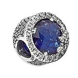 Funshopp Christmas Blue dazzling fiocco di neve argento 925originale DIY adatto per Pandora braccialetti charm Fashion Jewelry