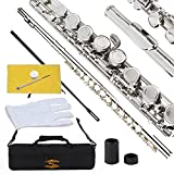 Glory Closed Hole C Flute With Case, Tuning Rod and Cloth,Joint Grease and Gloves Nickel Siver