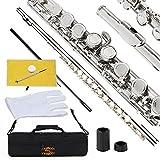 Glory Flauta tonalidad Do con funda, varilla, gamuza, lubricante y guantes, Nickel silver
