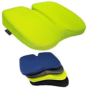 GreatIdeas Sitzkissen, Keilform, freiliegend, gegen Beschwerden des Rückens und Steißbeins, stützt die Lendenwirbel, ideal im Auto oder zu Hause