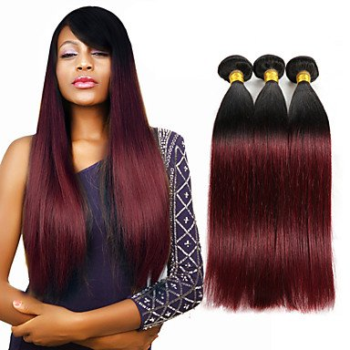 XQXHair Tejido hindú de cabello humano indio 10 Negro a Borgoña Ombre Color Extensiones de armadura de pelo para la venta 3 paquetes 300g / lot-26 , 3pcs