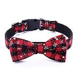 Egurs Pet Halsbänder mit Schleife Einstellbare Schneeflocke Fliege Halsband für kleine mittlere und große Hund rot M