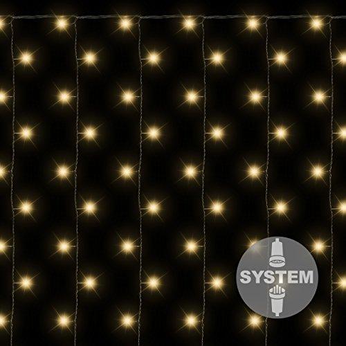 diLED 200-er LED Lichtervorhang warm-weiß für erweiterbares Profi-Beleuchtungs-System Innen und Außen wasserdicht OHNE Netzteil
