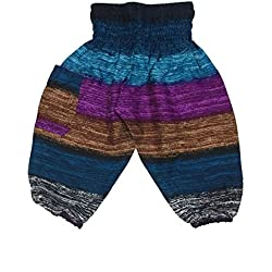Lofbaz Niños Pantalones Harem Boho de cintura alforzada Pirata Navy Talla 2T