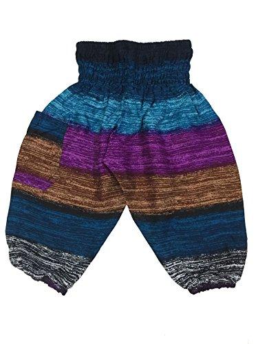 Lofbaz Kids Harem Thick Stripes Child Aladdin Pants Boho Hippy Navy Tone Size 2T