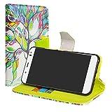 LiuShan BQ Aquaris VS Plus/Aquaris V Plus Hülle, Brieftasche Handyhülle Schutzhülle PU Leder mit Kartenfächer und Standfunktion für BQ Aquaris VS Plus/Aquaris V Plus (5,5 Zoll) Smartphone,Love Tree