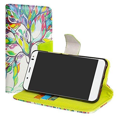 LiuShan BQ Aquaris VS Plus/Aquaris V Plus Hülle, Brieftasche Handyhülle Schutzhülle PU Leder mit Kartenfächer & Standfunktion für BQ Aquaris VS Plus/Aquaris V Plus (5,5 Zoll) Smartphone,Love Tree