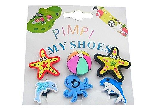 lordies 6 X Pin Clip Sticker per Clogs Crocs Pimp My Shoes, Z26