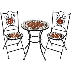 TecTake 401637 - Conjunto de muebles de jardín mosaico mesa con sillas terraza metal cerámica
