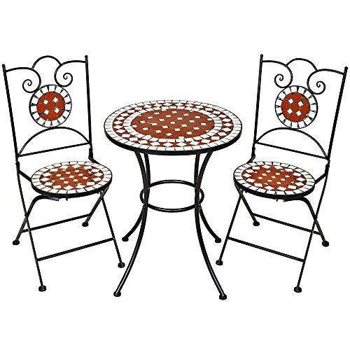 TecTake 401637 - Conjunto de Muebles de jardín Mosaico Mesa con sillas...