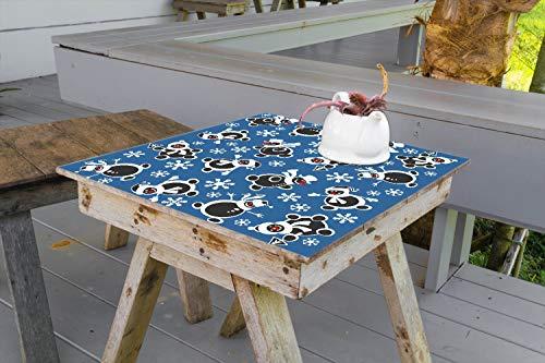 Wallario Aufkleber Selbstklebende Garten-Tisch-Decke - Lustige Schwarze Schneemänner mit weißen Hüten mit Schneeflocken in 70 x 70 cm (Schneeflocke Decken Tisch)