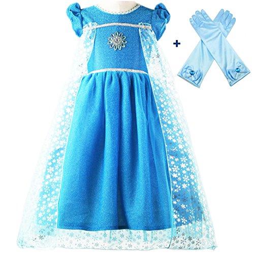 essin Elsa Kleidung Verkleidung Kurze Ärmel Blau Handschuhe (6-7) (Kurzes Blaues Kleid Handschuhe)