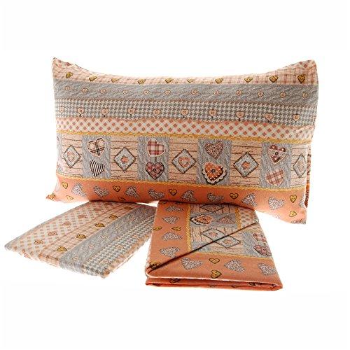Completo lenzuola in flanella 1 piazza letto singolo cuori geometrico varie fantasie (shabby cuori arancio)