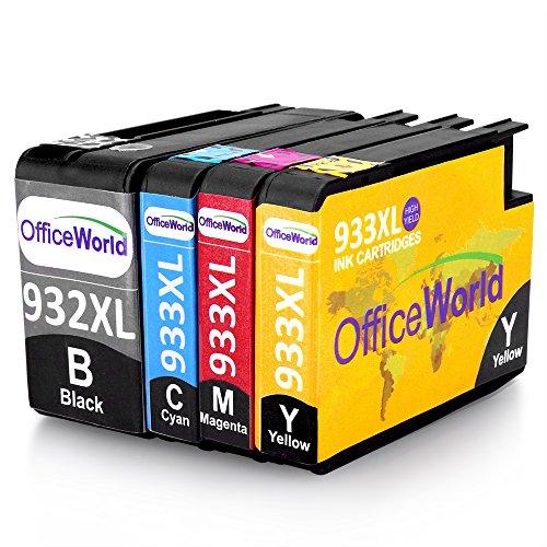 Preisvergleich Produktbild OfficeWorld Ersatz für HP 932XL 933XL Tintenpatronen mit Neuer Chips Hohe Kapazität für HP Officejet 6100 6600 6700 7110 7610 7612 [Bitte beachten Sie 7510 7512 kann nicht verwendet werden] (1 Schwarz, 1 Cyan, 1 Magenta, 1 Gelb)