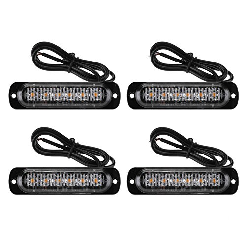 Ahomi 4 pcs 6led Voiture Véhicule d'urgence avertissement Strobe lamps fin Flash Barres d'éclairage