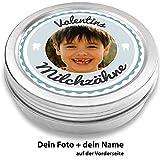 Milchzahndose personalisiert mit Foto und mit Namen | Metall mit Schraubdeckel | für Mädchen & für Jungs | Geschenk zur Einschulung, Geburt, Taufe