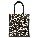 #6: H&B Jute Lunch bag (Dot,black, Size: 11x9x6 inches )