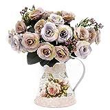 LCCL Juego de Mini jarrón de Hierro y 2 lomos de Pintura al óleo para Flores Artificiales