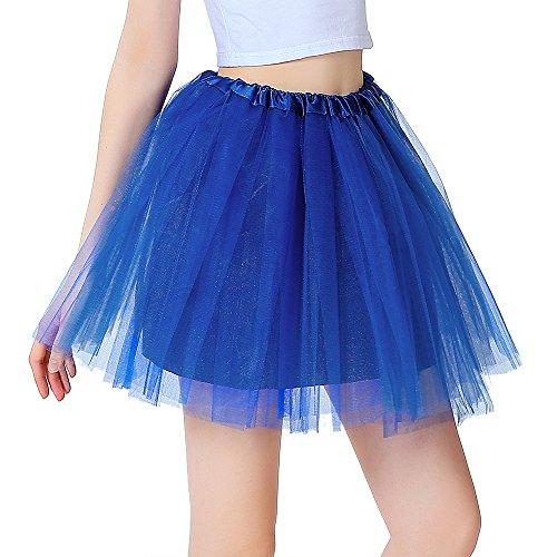 InnoBase Tutu Damenrock Tüllrock 50er Kurz Ballet 3 Layers Tanzkleid Zubehör für Frauen Mädchen 8 Farben (Blau)
