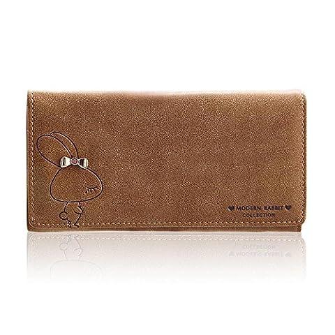 Woolala Womens Modern Rabbit Wallet Cute Large Capacity Cash, Phone, Cards Holder Organizer Clutch Long Purse, Brown