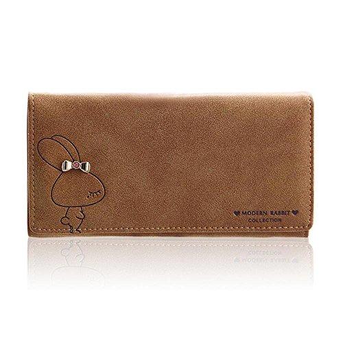 Woolala Damen Modern Kaninchen Brieftasche Niedlich Groß Kapazität Bargeld, Telefon, Karten Inhaber Organizer Portemonnaie Lange Geldbörse, Braun (Muster Niedliche Geldbörse)