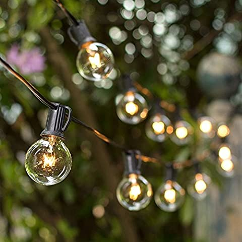 25FT G40 Outdoor-String Lichter,Globe Birnen Outdoor String Lights String Streifen Licht mit E12 Sockel für Patio Garten Party Weihnachten Urlaub Hochzeit Dekorationen Warm (3 Ersatzbirnen)