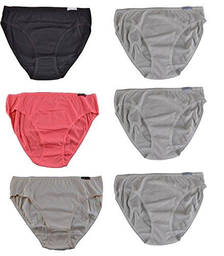 Damen Slip,6 Pack,Baumwolle rot/beige/schwarz/weiß