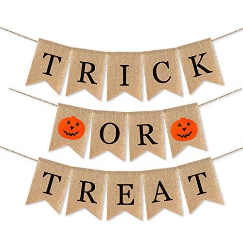 Amosfun Trick OR Treat Ammern Happy Halloween Dekoration Party Supplies Ammer Leinen Hanginf Banner Wanddekoration