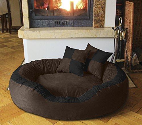 BedDog Hundebett PRINS / großes Hundekörbchen aus Microfaser-Velours / waschbares Hundebett mit Rand / Hundekissen oval-rund / für drinnen & draußen / XXL / MOCCA-F / braun-schwarz