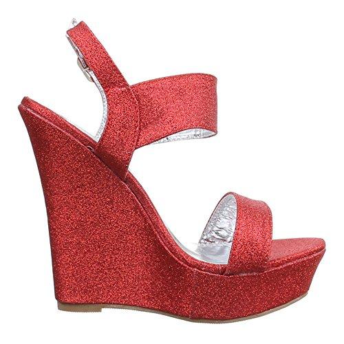 Ital-Design Damen Schuhe, B2553K-SP, Sandaletten Keil Wedges Plateau Pumps Rot