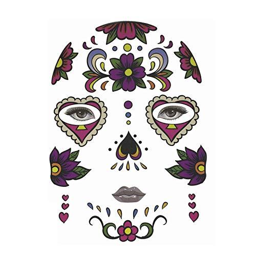 XINAINI Tattoo Gesicht Festival Glitter,Halloween TemporäRe Gesichtskunst, wasserdichte Maske, SchäDel TäTowierungs SchöNheits Aufkleber Augenbraue Gesicht (Private Kleinkind Kostüm)