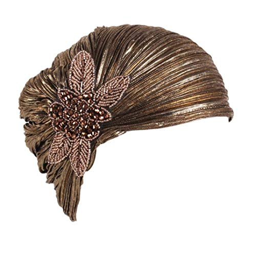 Frauen Damen Schlupfmütze Retro Krempe Mitblumen Hut Turban Hut Cap 20er Jahre Haube Frühling Herbst Hüte Hat Mützen (Color : Gold, Size : One Size)