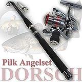 ANGELSET DORSCH KOMPLETT Set Pilkrute + Rolle Reise-Hochsee-Pilkangel Makrele ü5ü