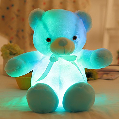 Rungao Bunt beleuchteter Plüschbär, mit LED-Leuchten, Spielzeug, Stofftier, blau, 30 cm (Rechten 3 Arm Stück)