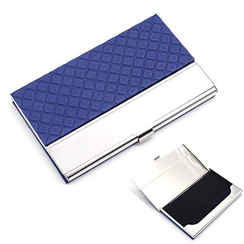 In acciaio inox Business nome Card Case Holder Organizer-Rerii Pelle Goffratura superficie, Custodia per biglietti da visita, biglietti da visita, carte di credito Organizer A -Blue